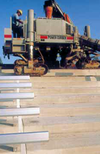 Slipforming stadium risers - machine runs on previous days pour